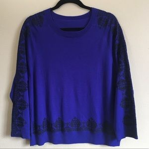 J Crew Merino Wool Embroidered Sweater Blue Large